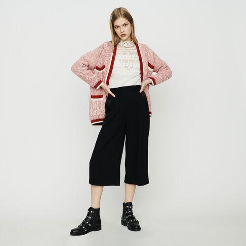 Cardigan medio lungo in maglia bicolore : Pullover e cardigan colore Rosso