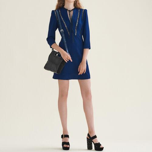 Abito corto con decorazione AMOUR. : Vestiti colore Blu Notte