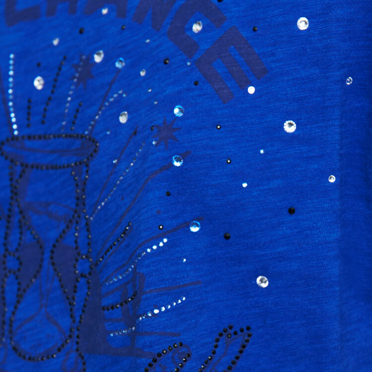 Tee-shirt ricamata : T-Shirts colore Blu