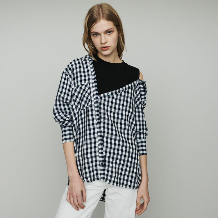 Camicia trompe-l'œil stampata vichy : Tops e Camicie colore CARREAUX