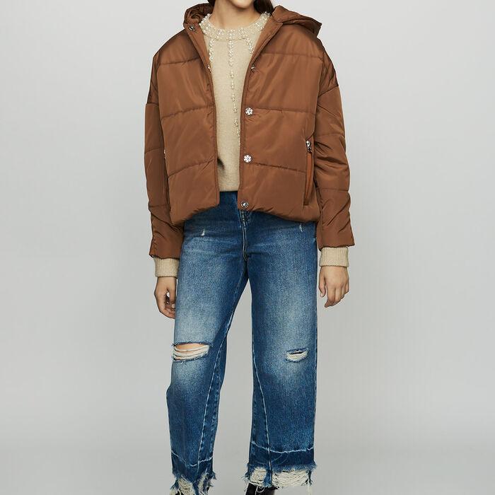 Piumino corto con cappuccio : Cappotti colore Caramello