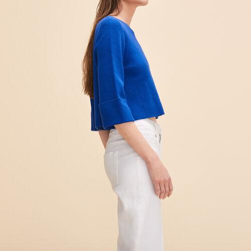 Pullover corto in maglia rigida : Pullover e cardigan colore Blu