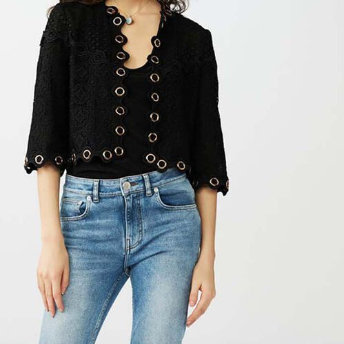 Lace jacket with eyelets : Maglieria colore Nero
