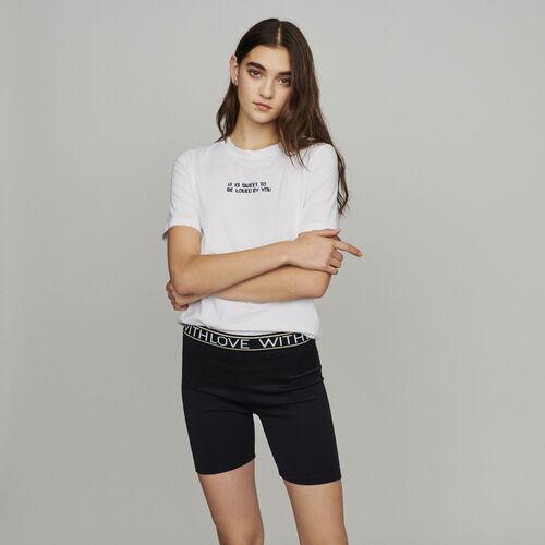 Short stile boxer con scritte : Gonne e shorts colore Nero