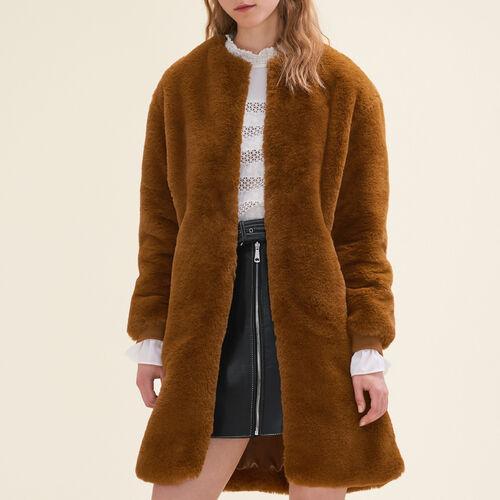 Cappotto in pelliccia ecologica : Cappotti colore Caramello
