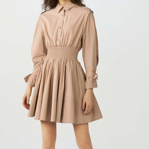 Dress with smocked waist : Vestiti colore Beige