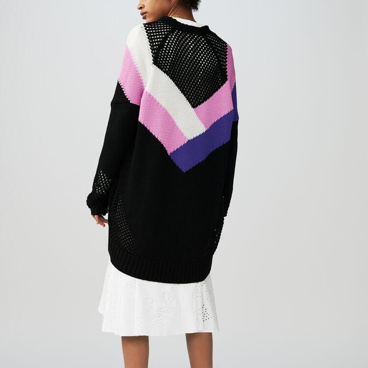 Cardigan lungo con dettagli colorati : Maglieria colore Multicolore