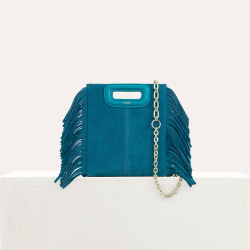 Borsa M Mini in suede con catena : M Mini colore Verde