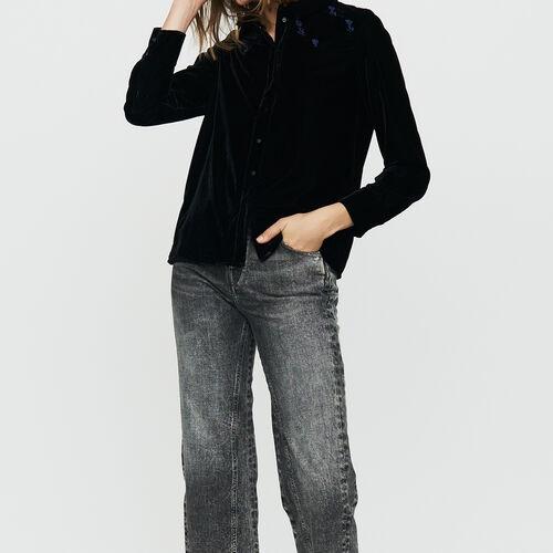 Camicia in velluto ricamata : Camicie colore Nero