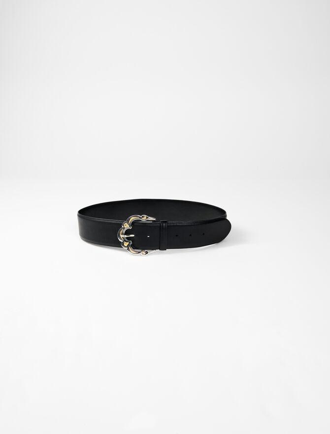 Cintura larga in pelle + fibbia berbera -  - MAJE