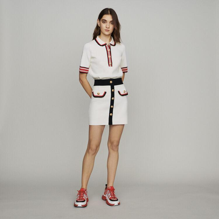 Gonna corta in maglia : Gonne e shorts colore ECRU