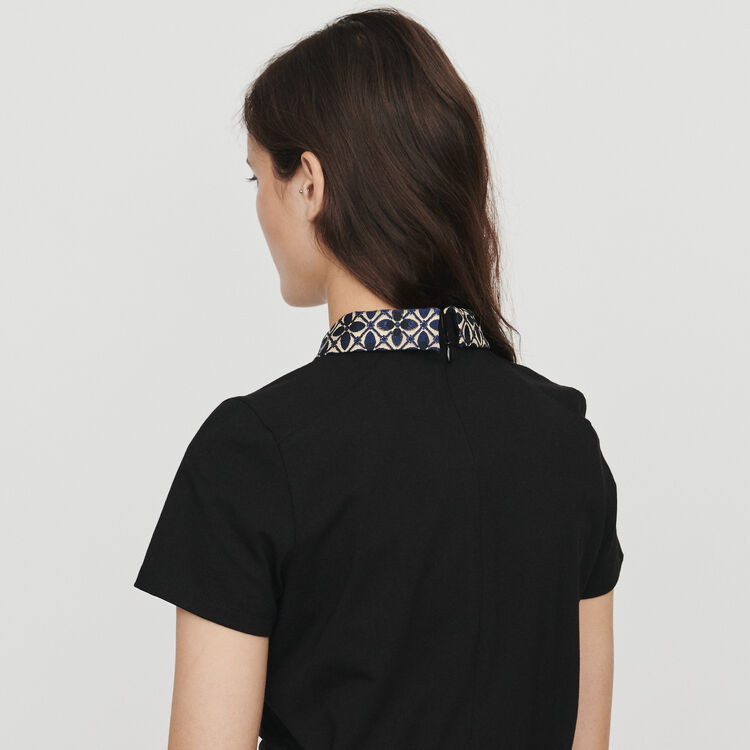 T-shirt with contrast collar & jewels : T-Shirts colore Nero