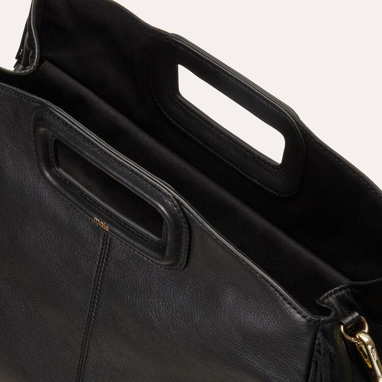 Shopper in pelle con frange : Totes & M Walk colore Nero