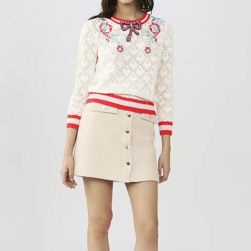 Pull traforata con dettagli fantasia : Pullover e cardigan colore ECRU
