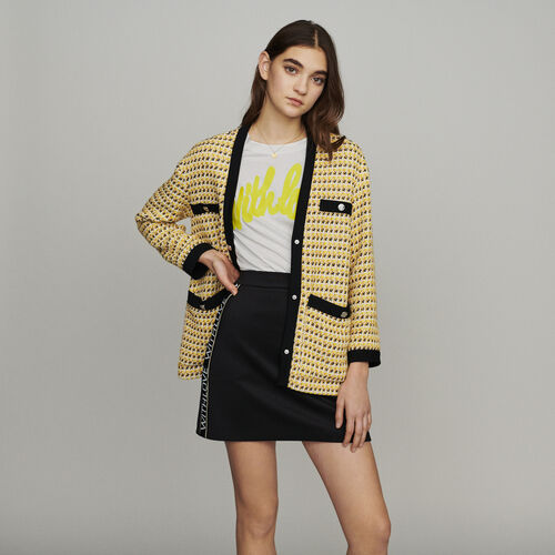 Giacca in tweed e lurex : Giacche colore Giallo