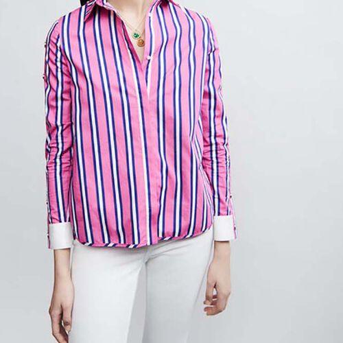Camicia in cotone con abbottonature : Camicie colore A Righe
