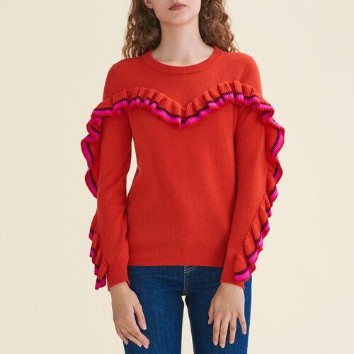 Pullover con volant in lana e cachemire : Pullover e cardigan colore Arancio