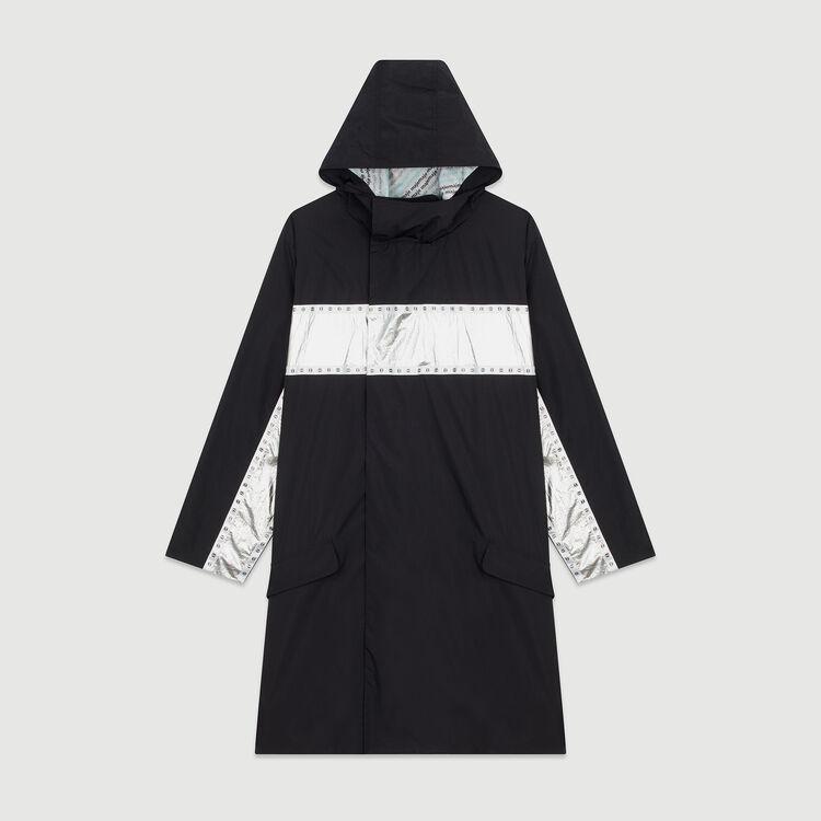 Parka lungo con bande applicate : Cappotti e Giubbotti colore Nero