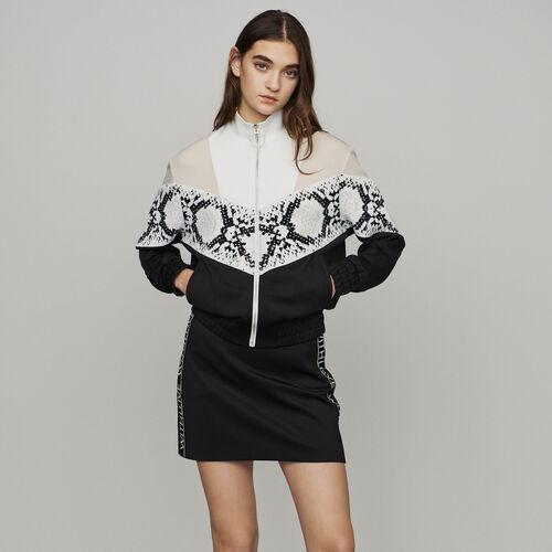Felpa zippata con bande pitonate : Pullover e cardigan colore IMPRIME