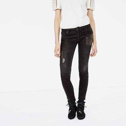 Jeans grigio scuro con toppa in pelle : Pantaloni & jeans colore Nero
