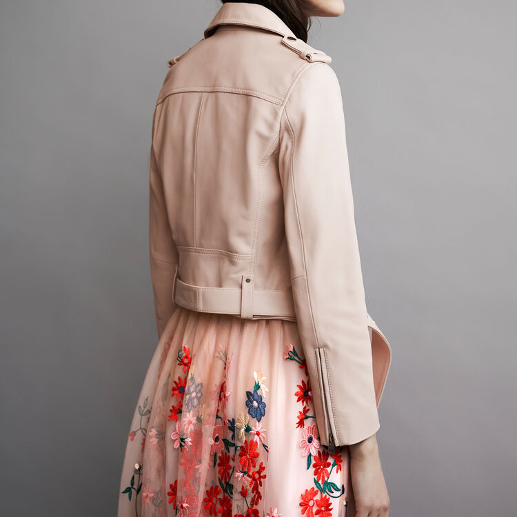 Leather jacket with belt : Giubbotti colore Nude