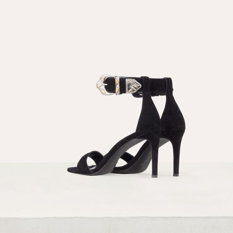 Sandali con tacco in suede : Scarpe colore Nero