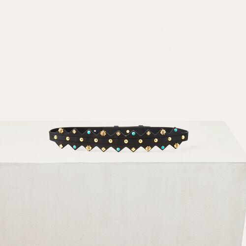 Cintura in pelle con borchie : Accessori colore Multicolore