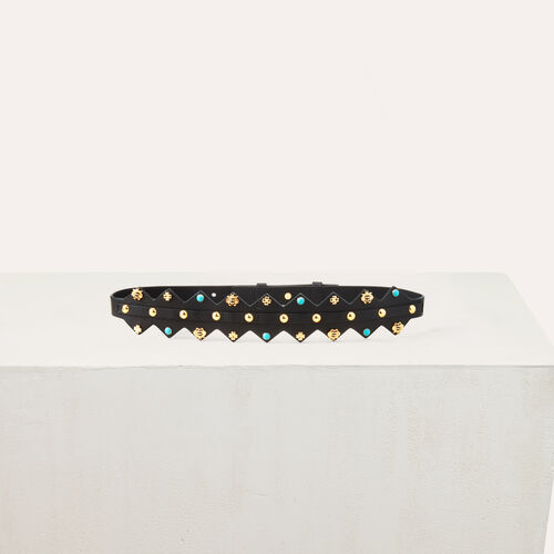 Cintura in pelle con borchie : Cinture colore Bicolore