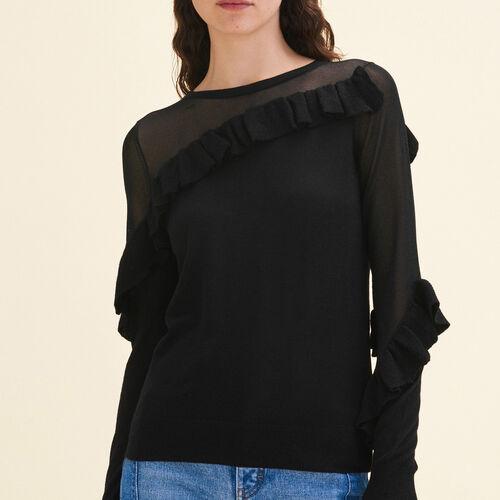 Pullover sottile con volant : Pullover e cardigan colore Nero