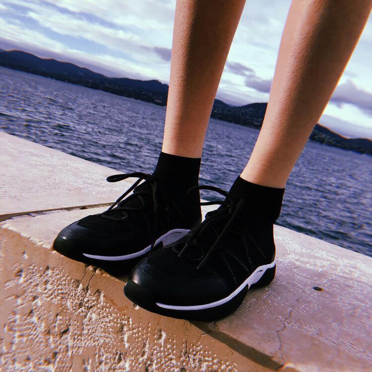 Sneakers alte in maglia stretch : Sneakers colore Nero