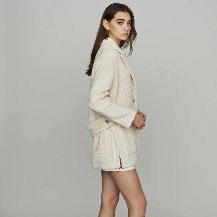 Cappotto stile tweed : Cappotti colore Ecru
