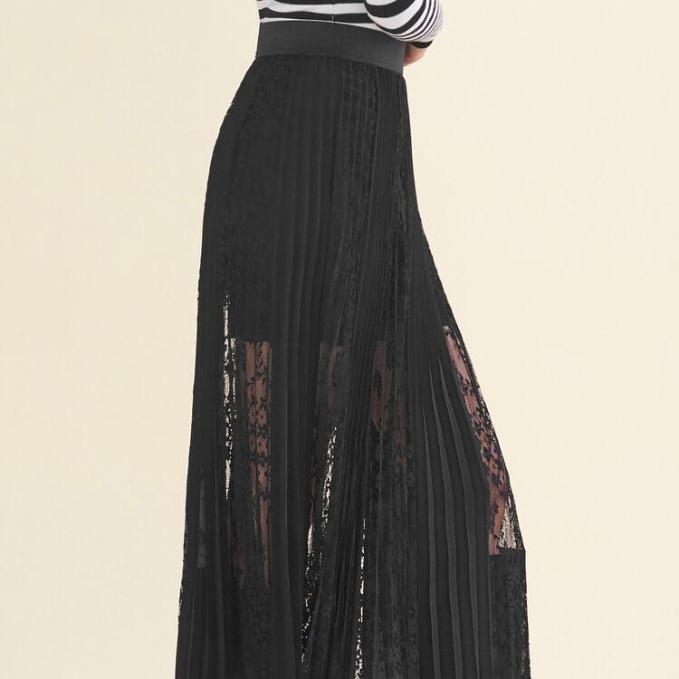 Gonna plissettata con pizzo : Gonne e shorts colore Nero