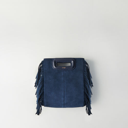 Borsa M mini in suede con catena : M Mini colore Blu Marino