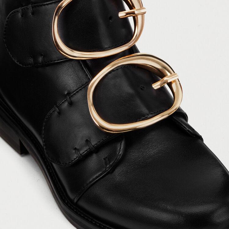 Stivaletti in pelle con cinturino : Scarpe colore Nero