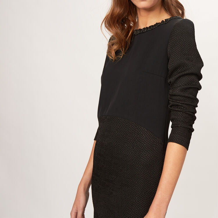 Close fitted dress with fake leather det : -70% colore Nero