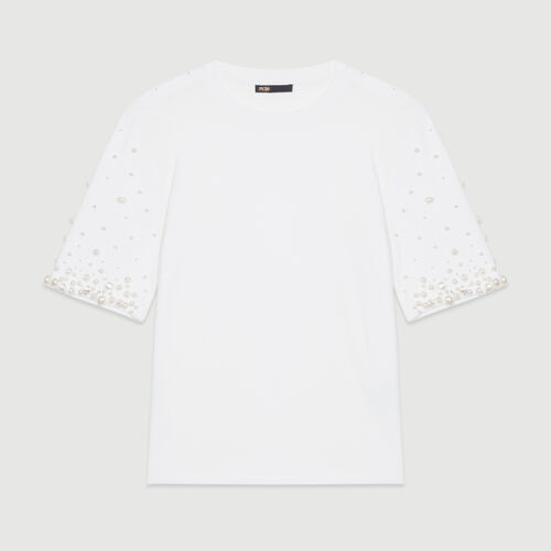 Tee-shirt in cotone con perle : T-Shirts colore Bianco