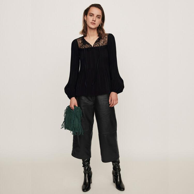 Top plissettato : Tops e Camicie colore Nero
