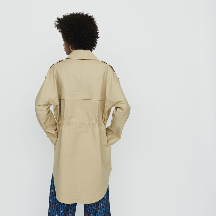 Trench corto in tela di cotone : Cappotti e Giubbotti colore Beige