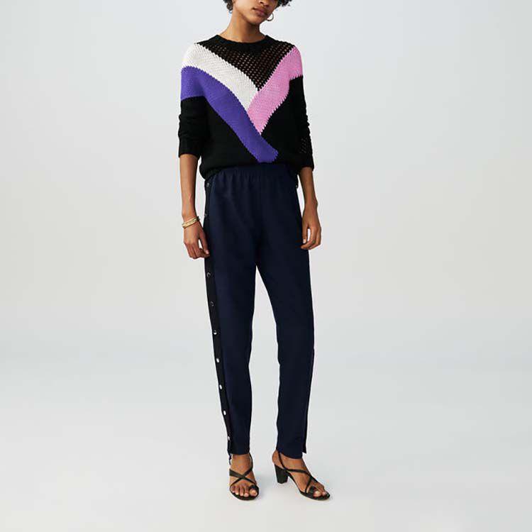 Pantaloni loose con bottoni : Pantaloni colore Blu Marino