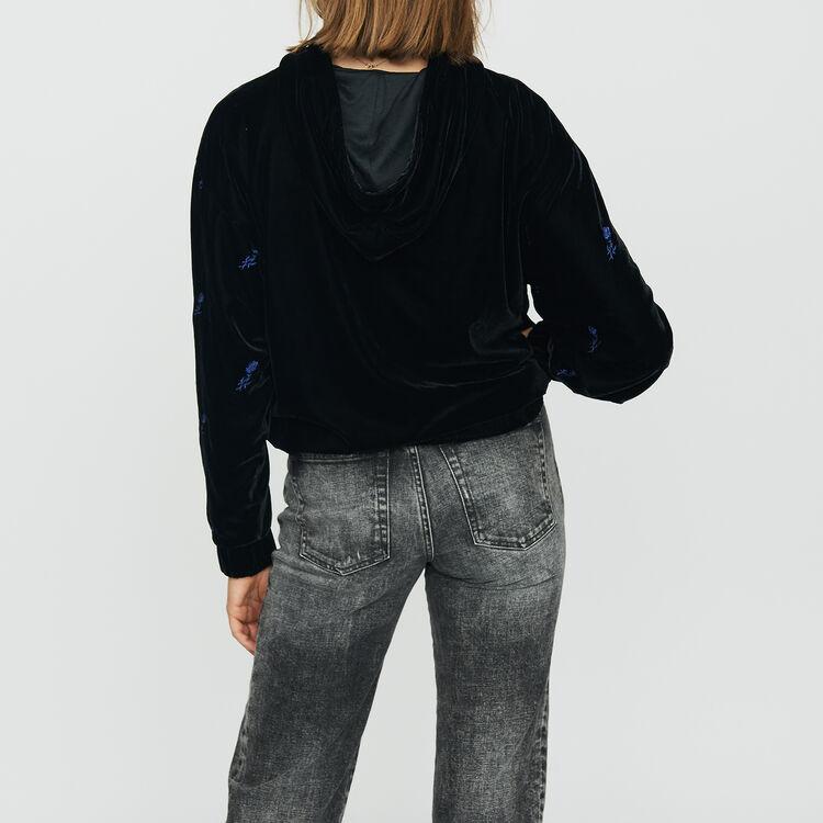 Felpa con cappuccio in velluto ricamato : Sweatshirts colore Nero