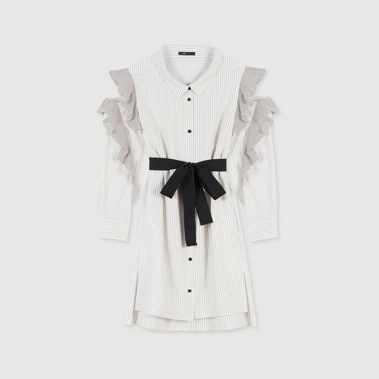 Scamiciato a righe con volant : Vestiti colore Bianco/Nero