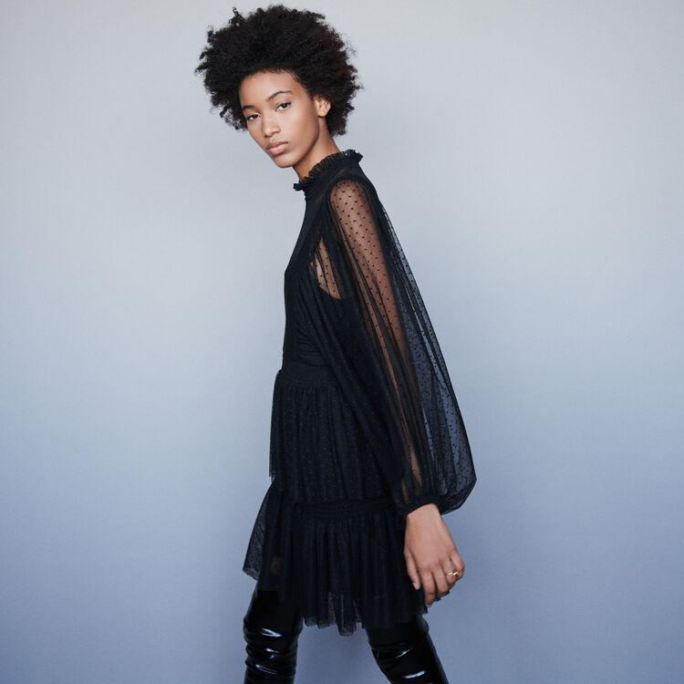 Vestito con volant in tulle plumetis : Vestiti colore Nero