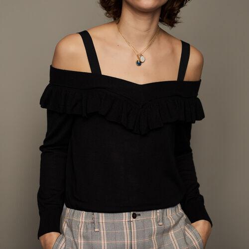 Maglia fine con spalle nude : Pullover e cardigan colore Nero