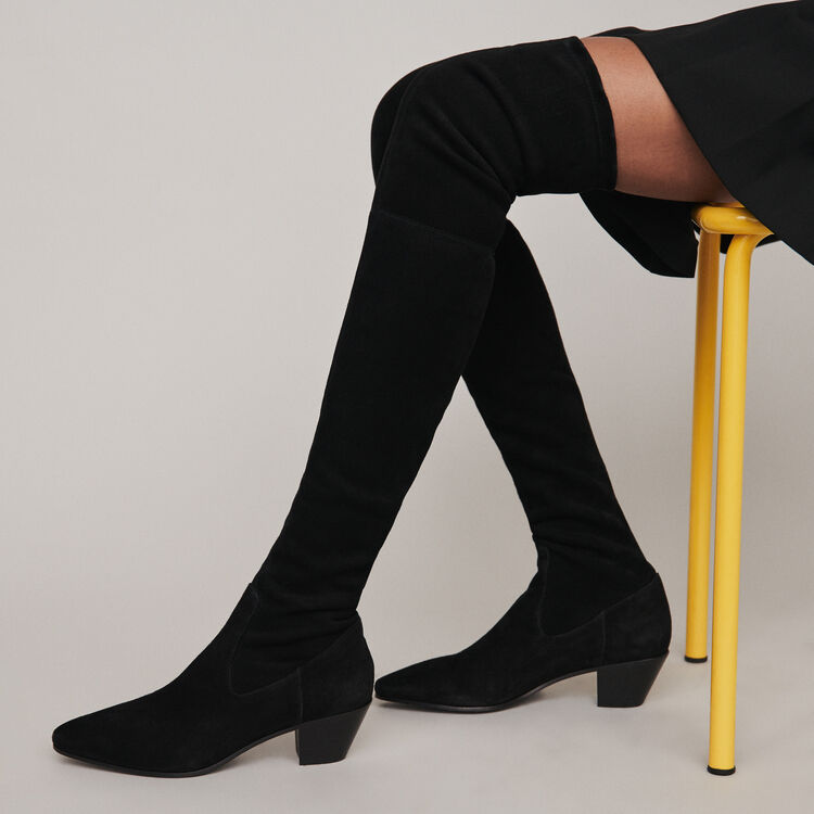 Heeled stretch vinyl thigh boots : Stivali e Stivaletti colore Nero