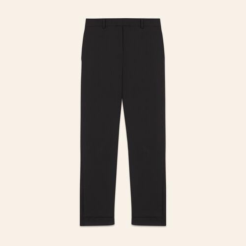 Pantaloni a 7/8 in crêpe : Pantaloni colore Nero
