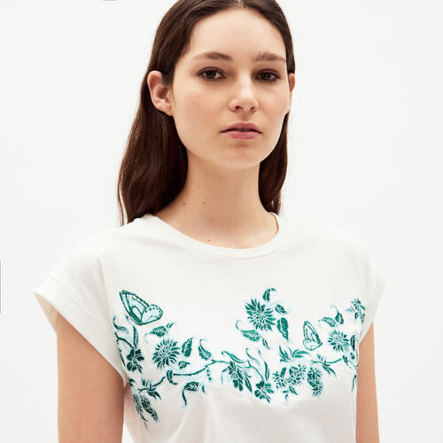 Tee-shirt with flowers embroideries : T-shirts colore ECRU