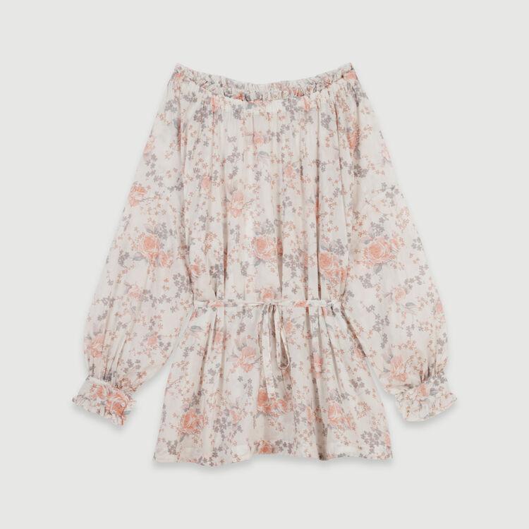 Abito con smock in cotone stampato : Vestiti colore Rosa