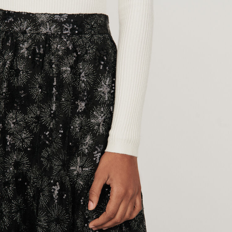 Gonna in tulle ricamata con paillettes : Gonne e shorts colore Nero