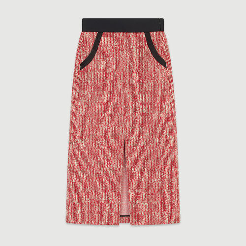 Gonna midi stile tweed : Gonne e shorts colore Rosso