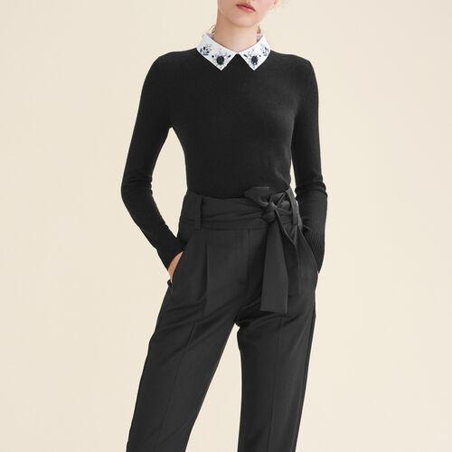 Pullover con collo da camicia e strass : Maglieria colore Nero